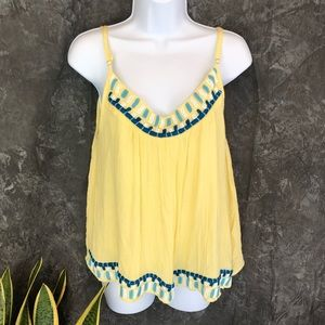 Anthropologie | Piper Yellow Embroidered Bead Top